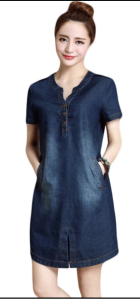 Korean jeans dress dark blue