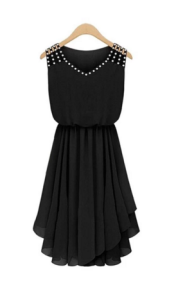 Moonar Women Sleeveless V neck black dress