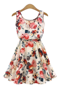 Hequ Collar Sleeveless Floral Print Chiffon Dress