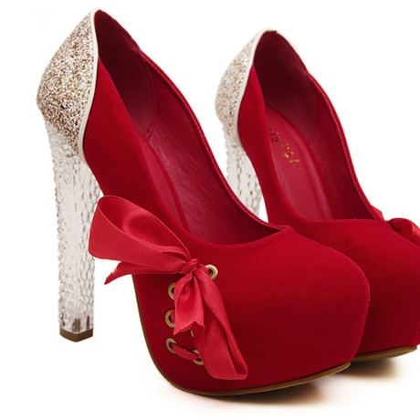 Crystal Bow Sequins High Heels