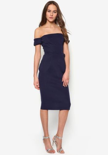 Zalora Fastion - Goddiva Bardot Structured Midi Dress