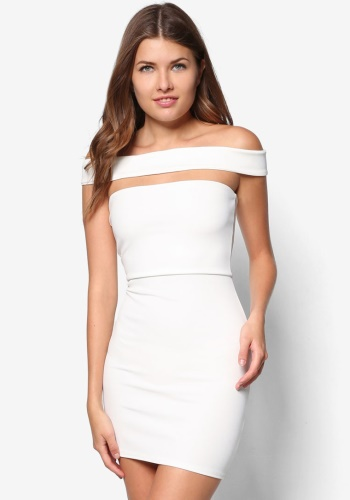 Zalora Fastion - Missguided Cut Out Bardot Bodycon Dress