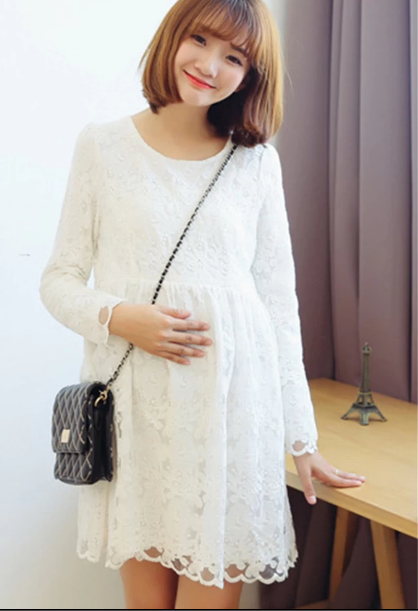 white maternity lace dress