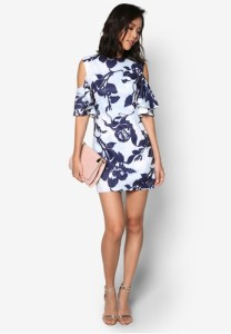 cold-shoulder-silhouette-printed-dress