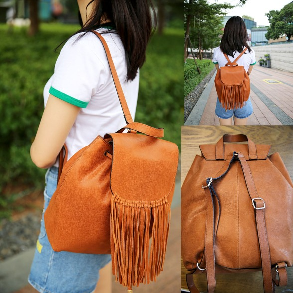 Versatile Handle Bucket Bag (Brown)