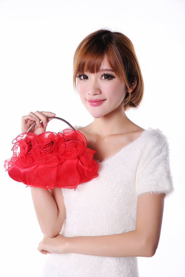 Red flower Laced Women Handbag