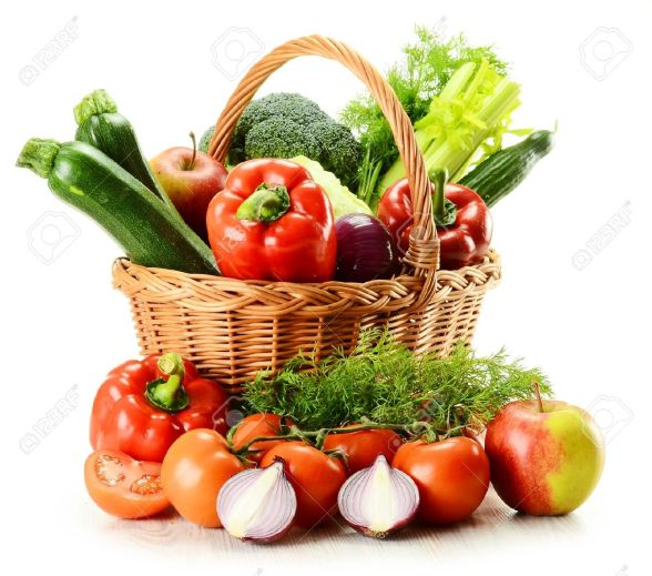 10221456-Composition-with-raw-vegetables-and-wicker-basket-isolated-on-white-Stock-Photo