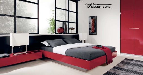 modern-red-bedroom-furniture-ideas-platform-bed-nightstand-built-in-wardrobe