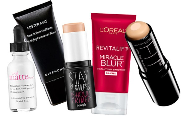 philosophy-total-matteness-serum_givenchy-mister-mat-primer_benefit-stay-flawless-15-hour-primer_loreal-miracle-blur_maybelline-shine-free-foundation