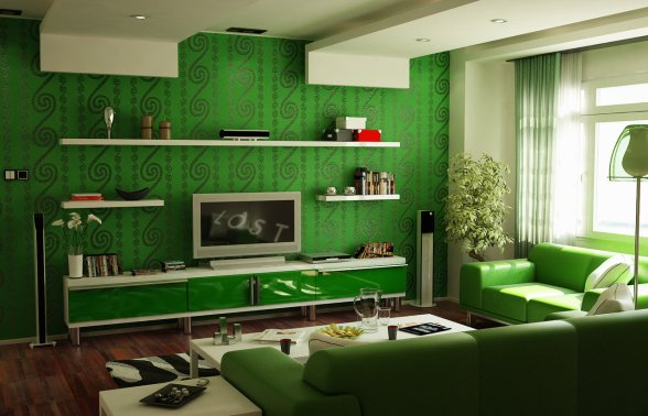 interior-decoration-ideas-simple-and-neat-living-room-interior-design-in-painting-walls-green-room-ideas-using-parquet-flooring-and-wall-mounted-bookshelf-also-white-furry-rug-with-green