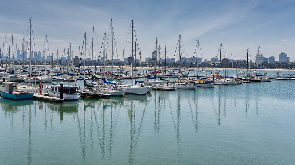 St Kilda marina with Melbourne in the background